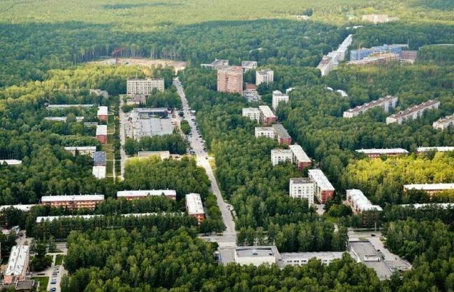 Вид сверху на Академгородок Новосибирска
